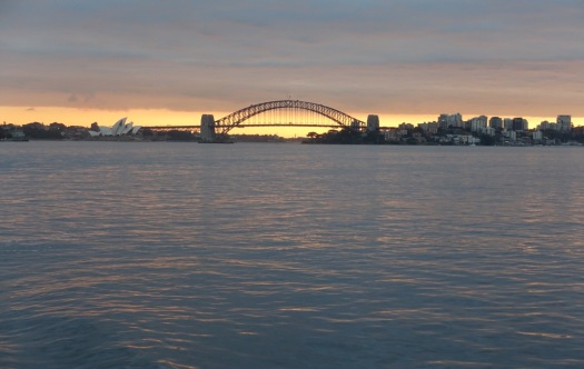 The Sydney Harbour Bridge and Sydney Opera House during sunset