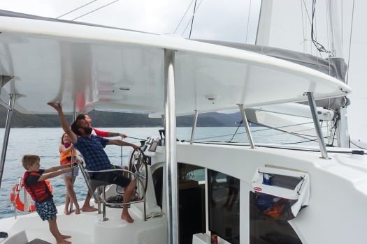 Sailing in the Whitsundays on a catamaran