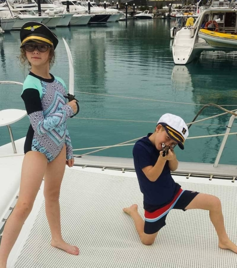 Catamaran capers with the kids