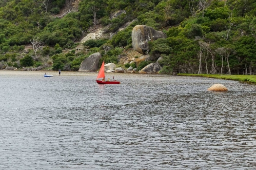 Sailing with kids on Tidal River with Whale Rock in view